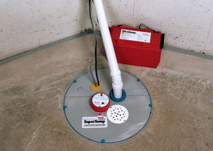 A sump pump system with a battery backup system installed in Knoxville